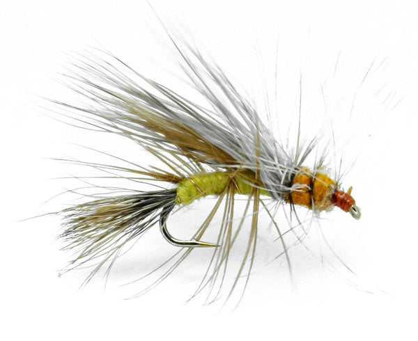 Feeder Creek Fly Fishing Trout Flies - Stimulator Yellow Dry Fly - 12 Flies in 4 Sizes - Feeder Creek