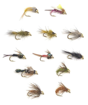 Fly Fishing Nymph Assortment - 72 Flies in 12 Patterns with Bead Head