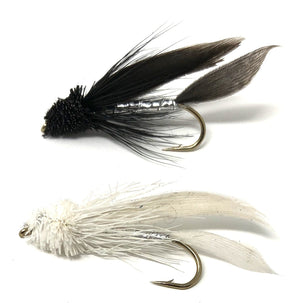 Feeder Creek Fly Fishing Flies - Muddler Minnow Streamers - 20 Wet Flies in White and Black - Feeder Creek