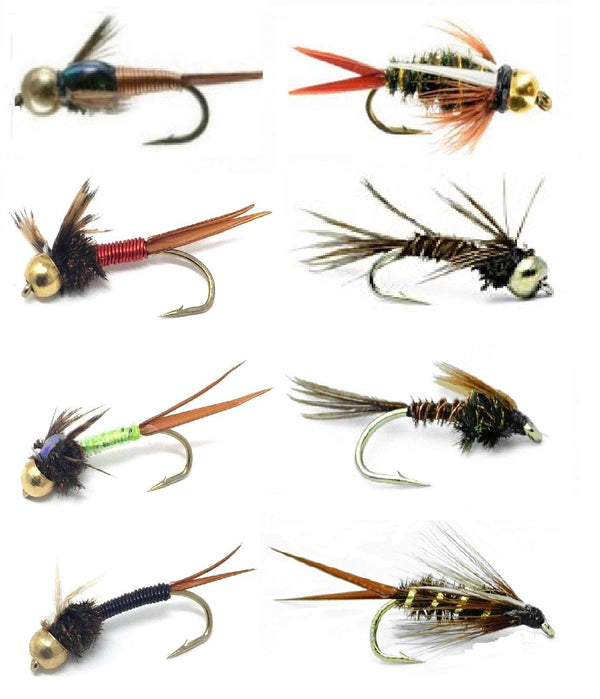Feeder Creek Fly Fishing Lures for Big Trout - 16 Hand Tied Fishing Flies - 8 Patterns in Size 12 - Feeder Creek