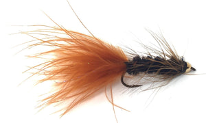 Bead Head Wooly Bugger Fly Fishing Flies - One Dozen - 4 Sizes 6, 8, 10, 12 - Pattern Black / Brown - Feeder Creek