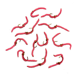 Feeder Creek San Juan Worm Pink Bead Head Fly Fishing Trout  Flies - Size 12 and 14 (One Dozen) - Feeder Creek