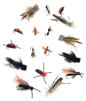 Fly Fishing Flies Set of 16 Dave's Hopper, Cricket, Ant, Cicada, Beetle More - Each in 2 Sizes