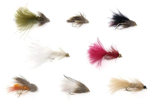 Feeder Creek Fly Fishing Trout Flies -8 Popular Streamers in Many Colors- 16 Wet Flies - Wooly Bugger, Muddler, Conehead