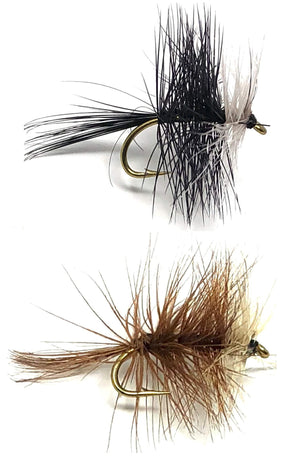 Feeder Creek Fly Fishing Trout Flies - BIVISIBLE Brown Black Assortment - 24 Flies - 4 Sizes 12,14,16,18 (3 Each Size)