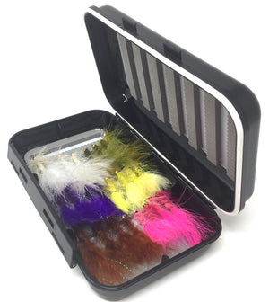 Fly Fishing Assortment - Bead Head Wooly Bugger - 24 Flies with Fly Box - 5 Color Variety - Feeder Creek