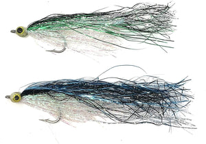 Fly Fishing Saltwater Flies - Burks Hot Flash Minnow Streamer - Blue and Green Assortment Size 1/0 One Dozen