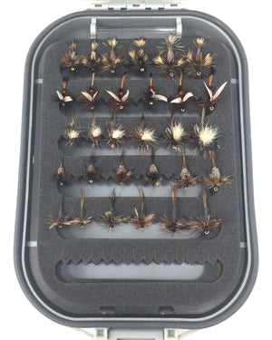 Fly Fishing Flies with Box - 48 Dry Flies - 8 Patterns in 3 Sizes - Feeder Creek
