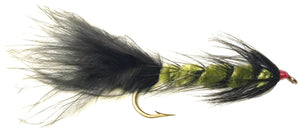 Feeder Creek Wooly Bugger Olive/Black Streamer Flies - Bakers Dozen Size 2 (13 Flies) - Feeder Creek