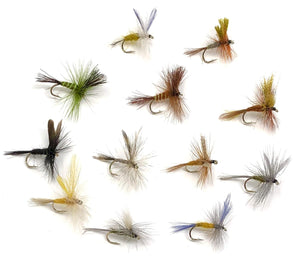 72 Dry Flies in 12 Patterns in Sizes 12,14,16 (Hendrickson, Drake, Dun, and More)