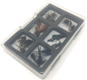 Fly Fishing Assortment - 18 Flies in 6 Patterns - Nymphs and Wets with Fly Box