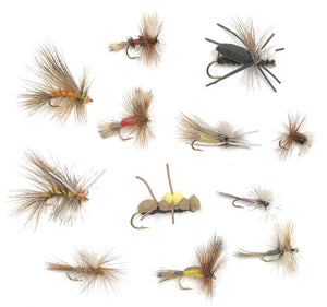 Feeder Creek Fly Fishing Assortment - 72 Dry Flies in 12 Patterns - Each in 3 Sizes (Stimulator, Chernobyl Ant, Madam X, and More)