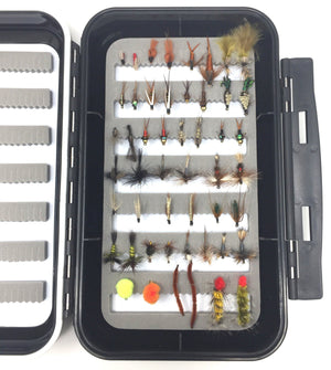Feeder Creek Fly Fishing Assortment - Wet, Dry, and Streamer Flies - 25 Patterns and 50 and Fly Box - Feeder Creek