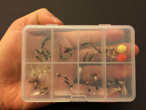 Feeder Creek Fly Fishing Flies with Pocket Size Fly Box - Wet and Dry Variety 32 Flies - 16 Patterns - Feeder Creek