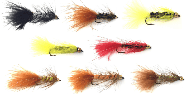 Bead Head Wooly Bugger Multi-Color Flies - One Dozen - 4 Sizes 6, 8, 10, 12 (3 of Each Size) - 8 Patterns to Choose From