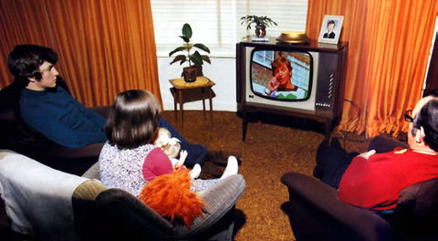 1970s family watching TV - source Google Images