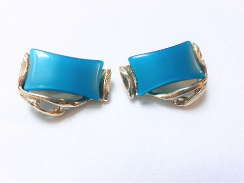 Blue Teal Cabachon Thermoset Earrings - available from Peppermint Twist Vintage
