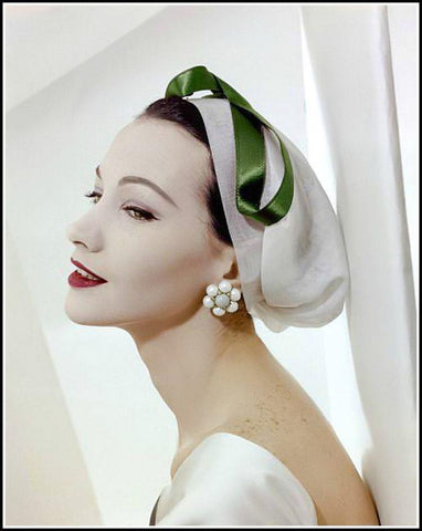 1950s model with cluster earrings