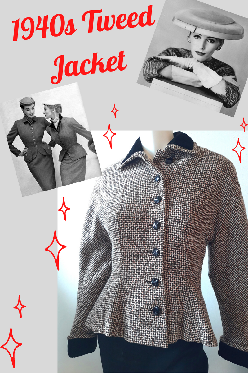 1940s Gorgeous Fall Tweed Jacket  Size S/M - from England