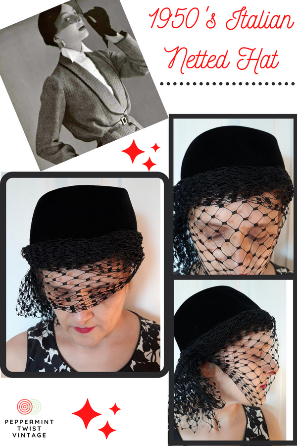 1950s Black Felt Netted Hat - Made in Italy - Fall/Winter Extravagance - Size S/M