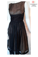 1950s Party Dress - S/M Black Flowing Dress with Sparkles