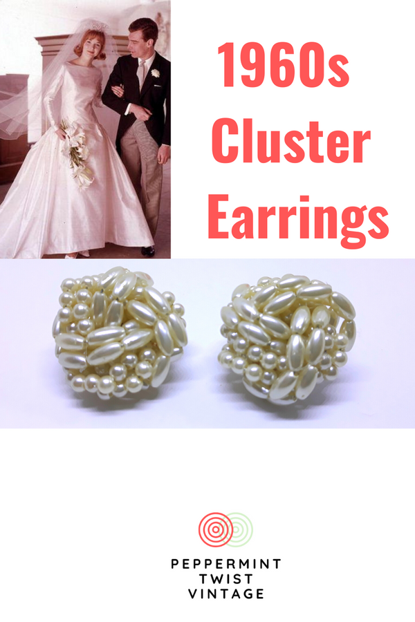 Gorgeous Large, 1960s White Cluster Earrings - Ideal for Parties and Wedding, Faux Pearl