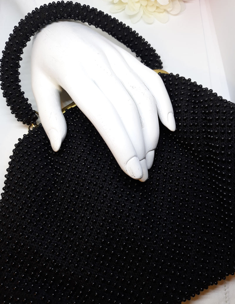 Gorgeous 1960s Black Beaded Handbag - In Excellent Condition - Mid Century Modern, Made in Hong Kong