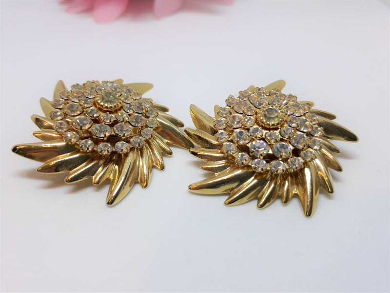 Large Glamourous Gold and Rhinestone Floral Clip-On Earrings - Hollywood Glamour