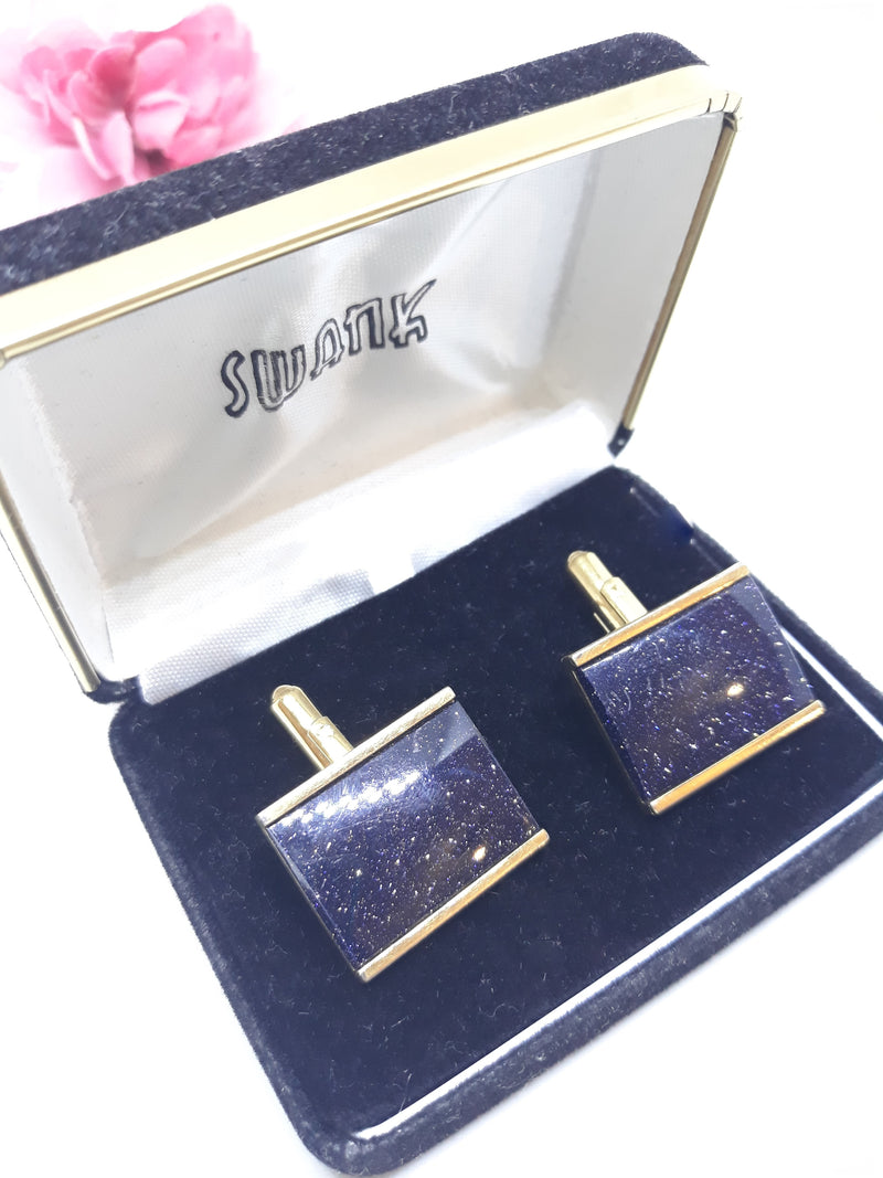Swank Black Onyx with Confetti Cuff Links in original velvet box - Vintage, New Deadstock