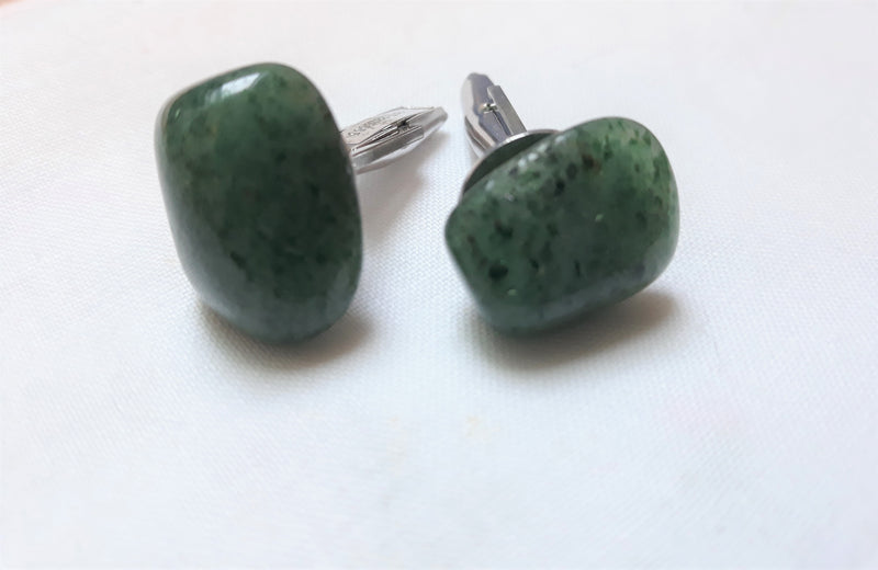 Stunning Vintage Cuff Links - Dark Green and Silver, Patent Pending 2920363