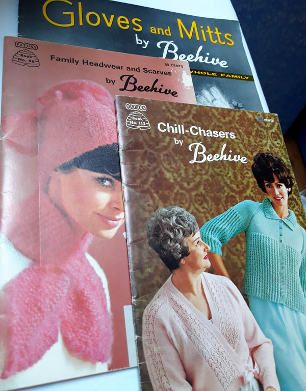 Lot of Three Beehive Pattern Books - Chill Chasers, Gloves and Mitts, Headwear and Scarfs