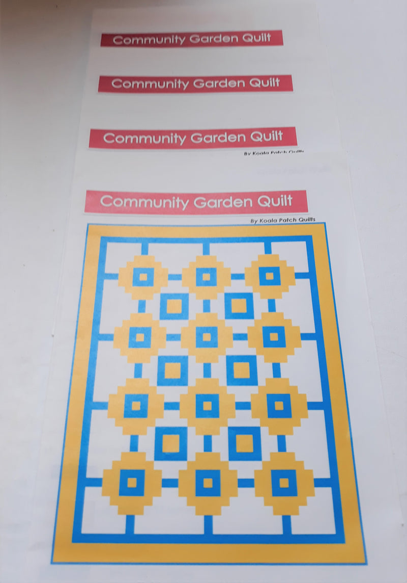 Community Garden Quilt Instructions - 4 pack by Koala Patch Quilts
