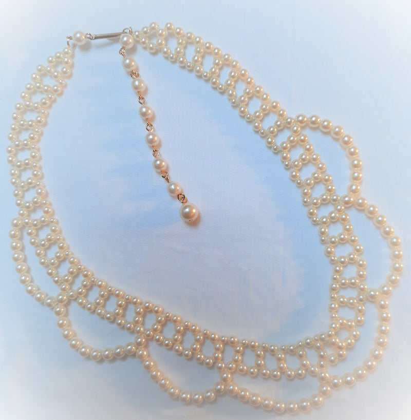 Stunning Vintage Faux Pearl Bib Necklace - Mid Century Modern,