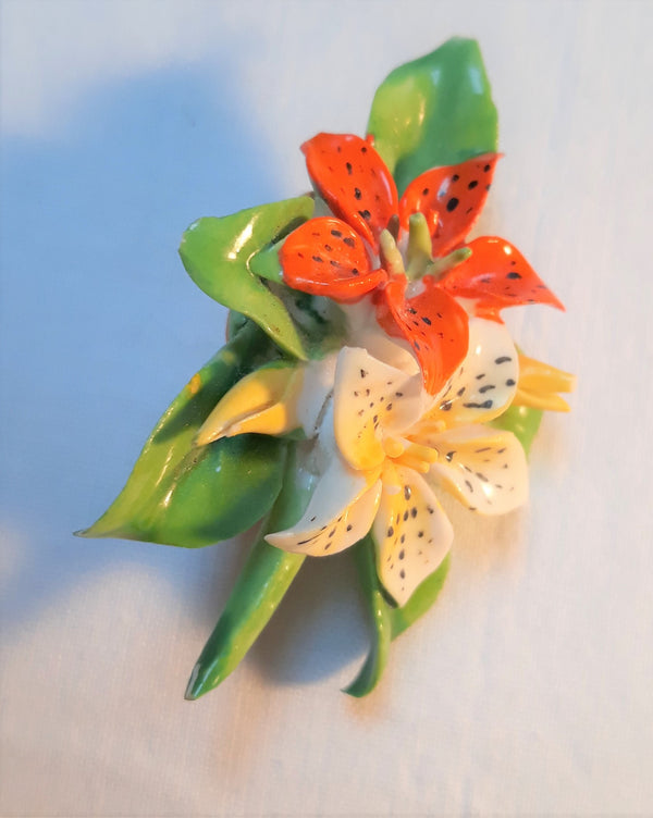 Beautiful Ceramic/Porcelain Flower Bouquet Brooch Royal Adderley Floral