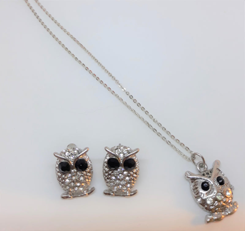 Vintage Owl Necklace and Matching Earrings Set, Pierced, Silver Tone