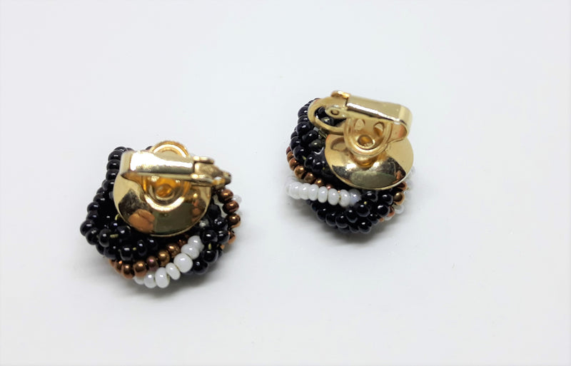 Stunning, 1950's Vintage Beaded, Black, Copper and White Beaded Earrings