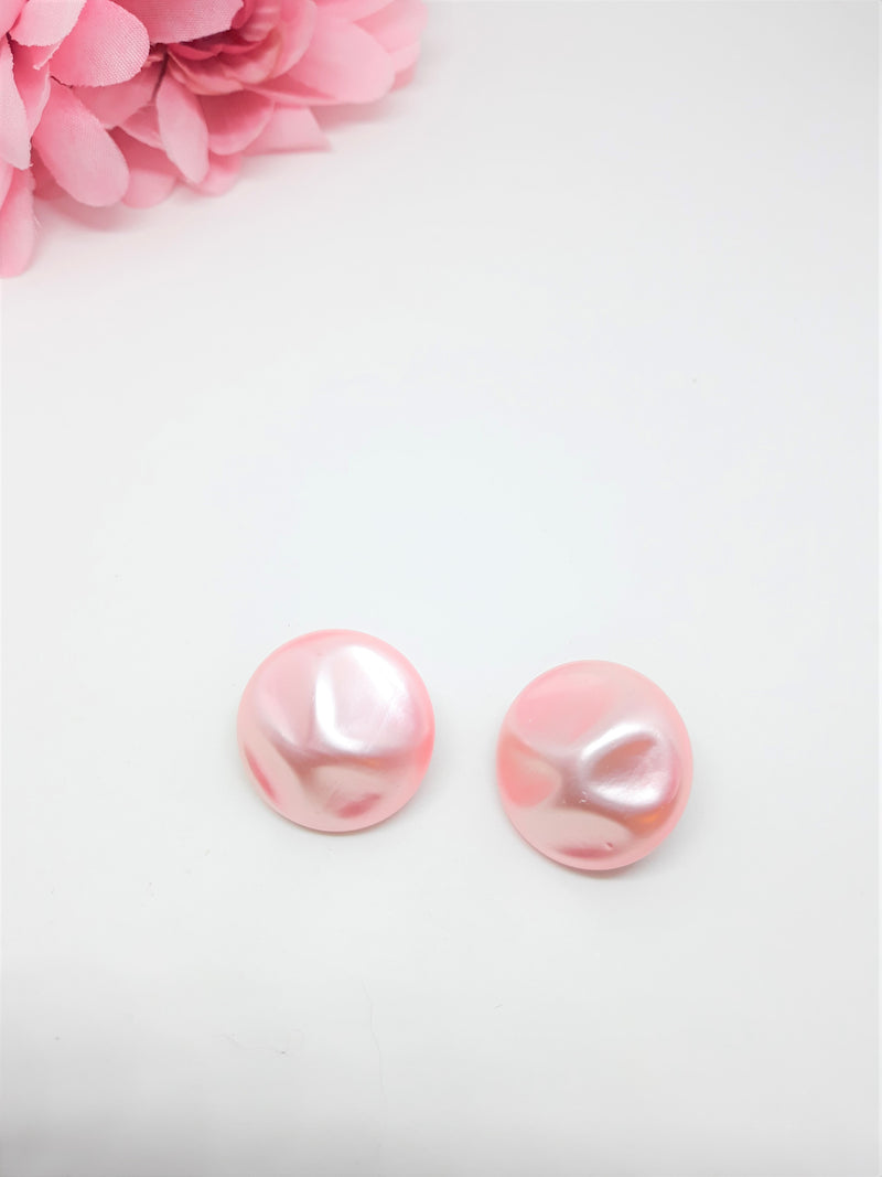 1960's Pink, Textured Vintage Lucite Button, Pearl Surface, Clip-on Earrings