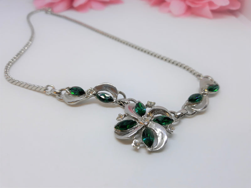 Sterling Silver, Green Rhinestone Marquis Stone, Princess Necklace