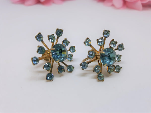 Stunning Coro Signed, 1950's Blue Teal Starburst or Snowfliake Screw Back Earrings