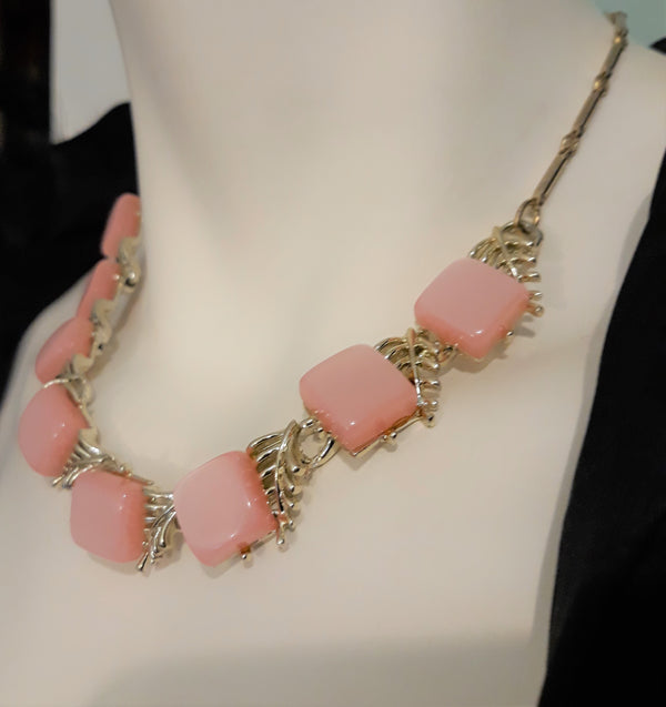 Vintage Coro Signed Pink Thermoset Necklace - 1950s