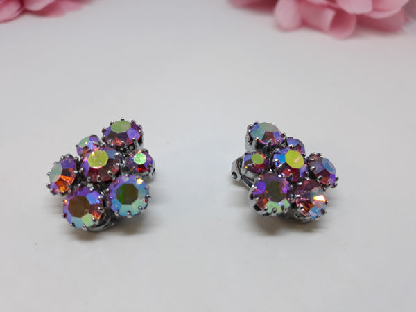 Stunning Vintage Aurora Borealis Glass Stone, Pink Cluster Clip-on Earrings