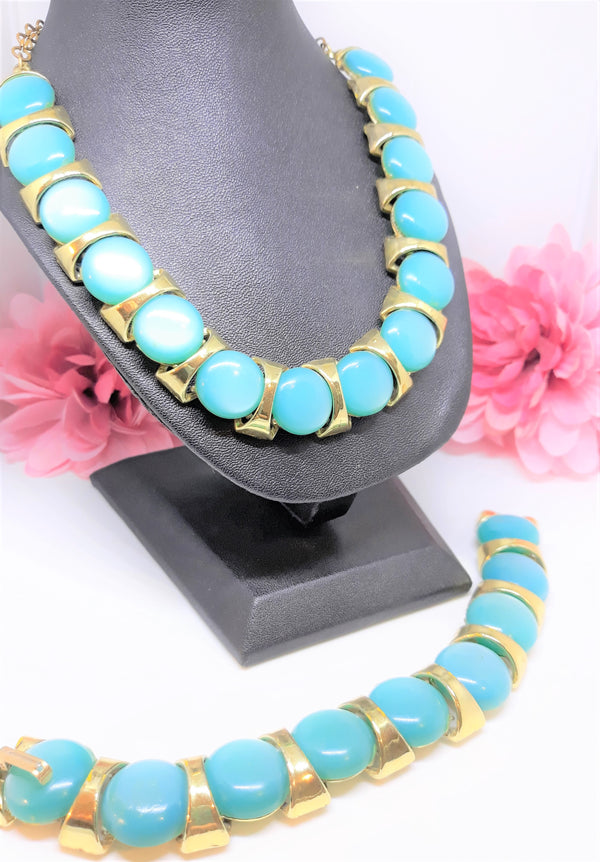 Vintage Large, Chunky Teal Turquoise Round Cabochon Thermoset Necklace/Bracelet