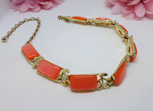 Vintage Coro Tangerine Pumpkin Spice Thermoset Necklace - 1950s - LIKE NEW