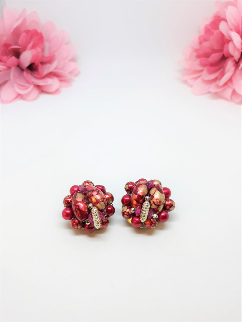 Stunning Vintage, 1950s or 60s Clip-on Earrings in Ornate Red and Gold, Made in Hong Kong