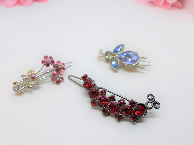 Lot of Three 1950s - Hair or Dress Clips - Pink Bouquet, Red Half Moon, Blue Bee
