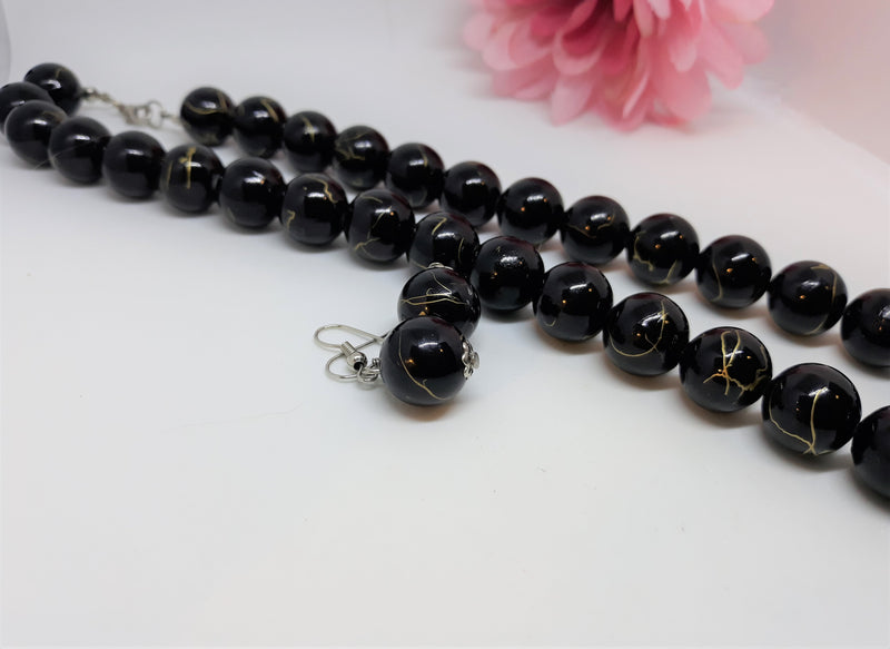 Vintage Necklace and Earrings - Lovely Black Bead with Gold Swirl, 1990s