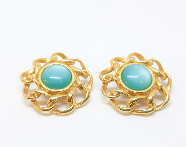 Stunning Large, Teal Thermoset (Moonglow) Earrings with Gold