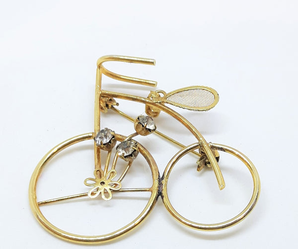 Stunning Vintage Bicycle Brooch or Pendant - Gold Tone with Rhinestones