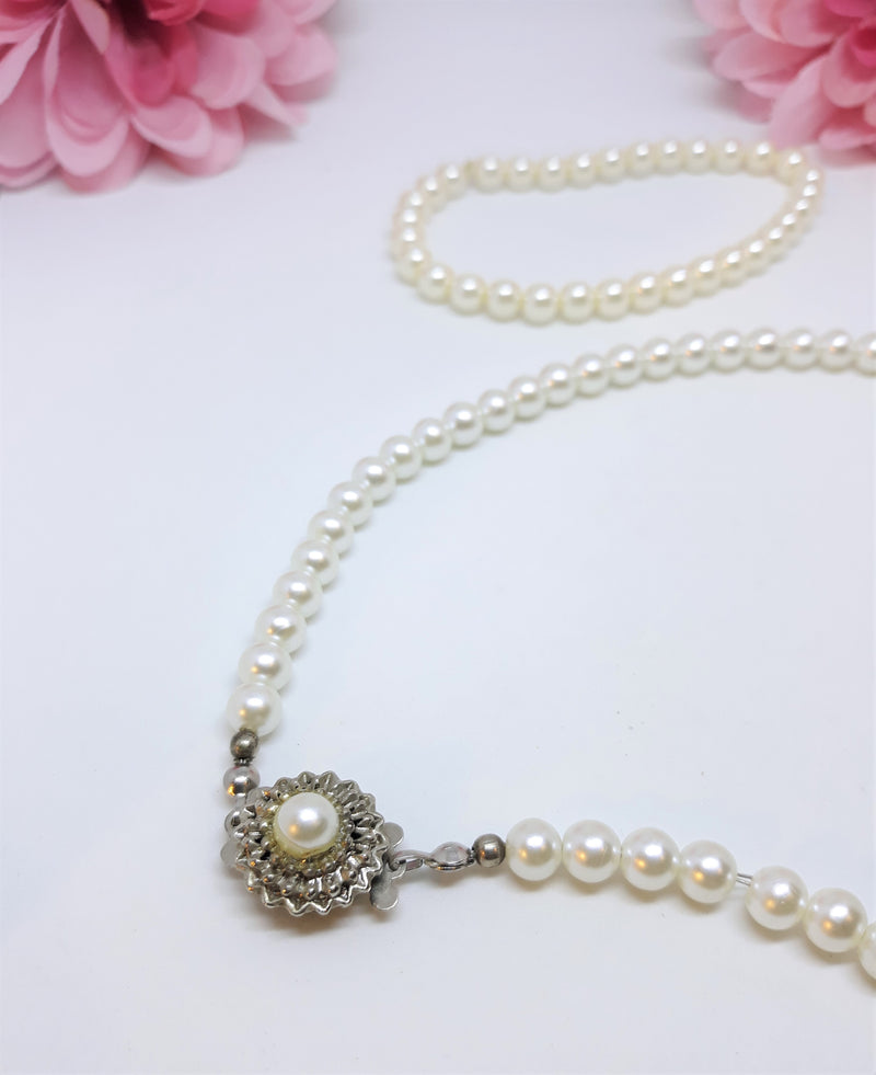 Vintage Faux Pearl and Bracelet Set - 1950s Glamour - Delicate