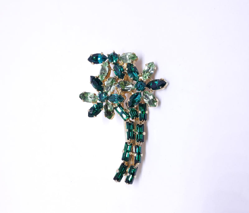 Stunning Marquis and Baguette Green Rhinestone Brooch